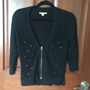 Black Zip Cardigan with Embellishments